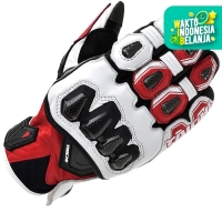 RS Taichi RST422 Glove High Protection Leather Glove - White Red - M