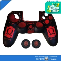 GOD Of WAR Silikon Silicone Cover Stik Stick PS4 + Thumb Grips Merah
