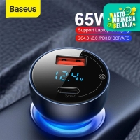 BASEUS 65W CAR CHARGER MOBIL FAST CHARGING TYPE C PD+USB QUICK CHARGE