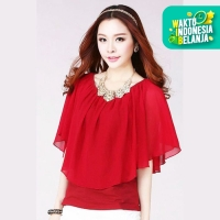Jfashion New Korean Style Blouse Chiffon Combination - Brenda