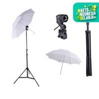 "Light Stand + Singel Lamp Holder + Payung Putih / Transparent 33"""