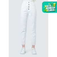 Colorbox Unfinished Hem Mom Jeans I:Lpdfcr120D014 White