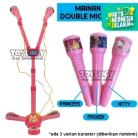 Mainan Musik Anak Microphone Double Mic Light Duo Karaoke Lampu NEW