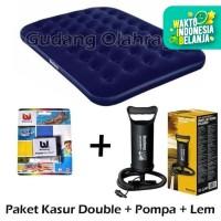 Bestway Kasur Angin Double + Pompa Tangan + Lem / Paket Kasur Angin