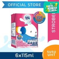 Frisian Flag Milky Zuzhu Susu UHT Strawberry Kemasan Multipack 6x115ml