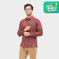 Odza Classic Kemeja Batik Kembang Megamendung Merah