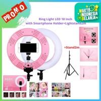 "RingLight LED 18"" Bonus Smartphone Holder + Lighstand 2M Pixmix"