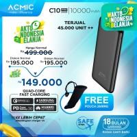 ACMIC C10PRO 10000mAh PowerBank Quick Charge 3.0 + PD Power Delivery - Tanpa Kabel