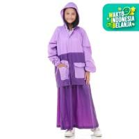 Jas Hujan Rok SALSA. Setelan Perempuan Wanita Muslimah Gamis Jaket - Ungu
