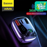 BASEUS S13 QUICK CHARGE 4.0 CAR CHARGER PD FM TRANSMITTER BLUETOOTH