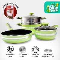 Welcook Panci Set Alumunium with Steamer 6 PCS- Green