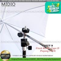 Perlengkapan Fotografi Midio DFE04 Flash Holder TYPE D+Stand+Payung