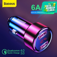 CAR CHARGER BASEUS CHARGER MOBIL QUICK CHARGE DUAL USB TYPE C 45W/6A