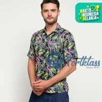 FortKlass DAUN KECIL Kemeja Hawaii Bali Pria Motif Kemeja Pantai Cowok