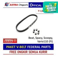 PAKET V-BELT Federal Parts untuk Beat, Spacy, Scoopy, Vario110 (FI)