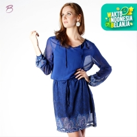 BODYTALK-DRESS LENGAN PANJANG PARSLEY DRESS 74012T8BL) - Biru, S