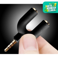 U Shape Splitter Audio + Mic Jack 3.5mm Headphone Mic Ke Smartphone