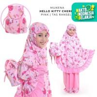 Mukena Anak Katun Hello Kitty Cherry Pink ( Tas Ransel )