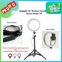 """LED RingLight 10"""" bicolour + dimmer - ringlight vlogger + Lighstand 2M"""
