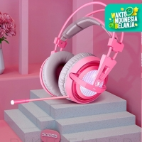 Headset Gaming Sades A6 7.1 Surround Sound - Merah Muda