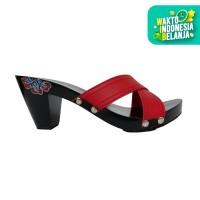 Dinara Klompen Sandal Wanita Wedges Silang Batik - Coklat Merah