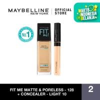 Maybelline Foundation Fit Me Matte Pore +Fit Me Concealer - 128 dan Light