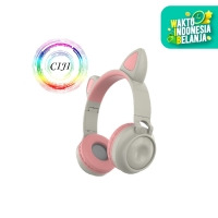 CIJI Headphone Wireless Bluetooth 5.0 Model Telinga Kucing Dengan LED