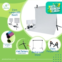 PAKET KOMPLIT MINI STUDIO FOTO- 3x 60 CM BACKGROUND + 6 W LAMP + STAND