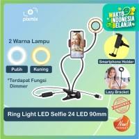 Ring Light LED Selfie 24 LED 90mm + Smartphone Holder + Lazy Bracket