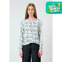 Colorbox Floral Balloon sleeve shirt I-Blwkey120D035 Off White