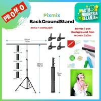 Background stand Model T Ukuran 200x260cm Bonus Background Woven 3x2M