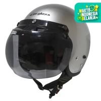 Cargloss Retro Helm Half Face Silver Met + Visor Bogo Smoke