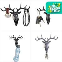 Doe Deer Key Hooks Stand Hanger Gantungan Kunci Dinding Tanduk Rusa