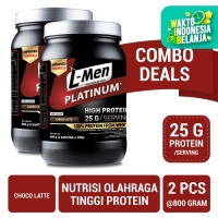 Twin Pack: L-Men Platinum Choco Latte 800gr (25gr Protein/Serving)