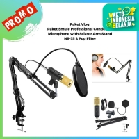 Paket Smule Professional Condenser Microphone with Scissor Arm Stand