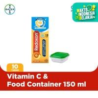 Redoxon Vit. C, D + Zinc Rasa Jeruk 10 Tablet & Food Container 150ml