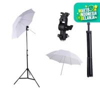 "Light Stand + D Bracket + Payung Putih / Transparent 33"""