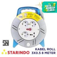 Starindo Box Cable 3x0,5 8 Meter / Stop Kontak - Biru