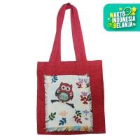 The KiliSuci Batik & Craft Mini Totebag Tenun Motif Owl Merah 1- Merah
