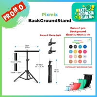 Background stand Model T Ukuran Lebar 70 x 65cm Bonus Background 70x1M
