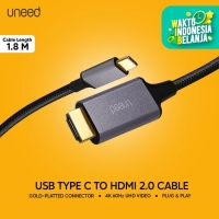 UNEED Kabel Type C to HDMI 2.0 Male Converter 4k 60hz 1.8M - UCB302CH