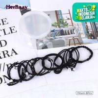 Herbaay 8Pcs Ikat Rambut Simple Bahan Karet Gaya Korea untuk Wanita