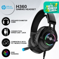 Headset Gaming HP H360 - RGB LED USB+Jack Wired