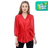 OLGA - Blouse Wanita V Neck With Tali - Merah