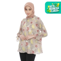 Lure Fashion - Blouse Wanita Plisket - Abstrak Broken White 2