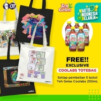 Teh Gelas PET - Original 250ml - [Bundle 5 Pcs] + Totebag Coolabs