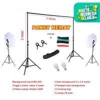 Payung Studio Foto Paket Komplit | U200 | Stand 2 x 2 | Kain 2 x 2.4 M