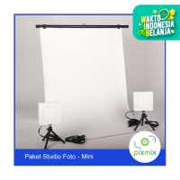 Paket Mini Studio|2x60cm Background + Lampu 6W 2pcs + Stand