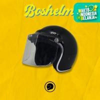 Helm Retro List Chrome Hitam Kaca Bogo Helm Basic Helm List Chrome