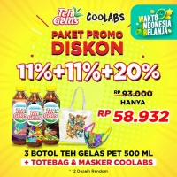 Teh Gelas PET Original 500ml [Bundle 3 Pcs] + Totebag & Masker Coolabs